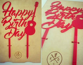 Happy Birthday with Guitar Cake Topper