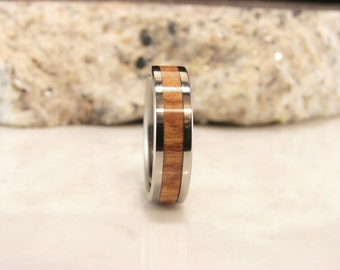 Ash Burl and Titanium wood inlay ring, Pennsylvania Ash Burl wood inlay ring, wood inlay ring, metal and wood ring,wedding band, rare wood