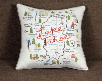 Pillow cover Lake Tahoe Pillowcases Embroidered Throw Pillows Outdoor pillow Decorative Pillow Gift  Wedding Anniversary Birthday Gift