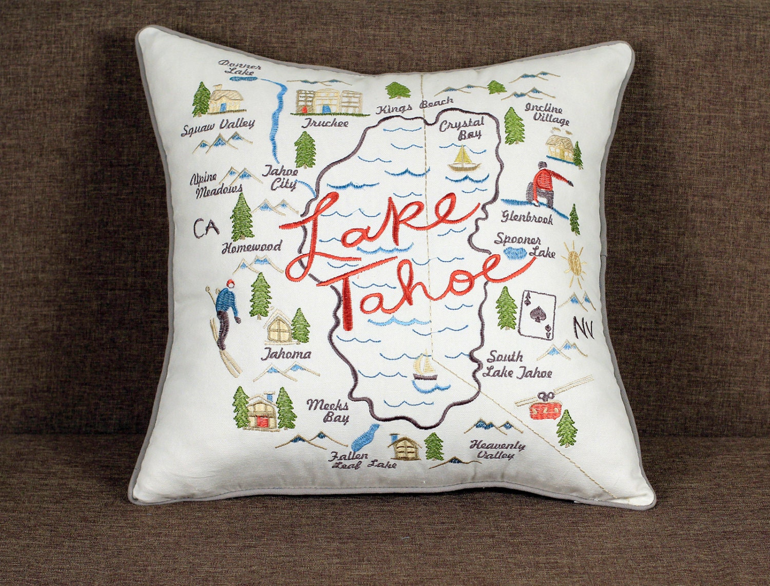 Pillow Cover Lake Tahoe Pillowcases Embroidered Throw Pillows Outdoor Pillow  Decorative Pillow Gift Wedding Anniversary Birthday