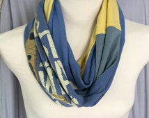 """Hiker infinity scarf, unique handmade scarf, One of A Kind scarves, Teal, blue n yellow scarf, """"Its What I Do"""" canoeing scarf"""