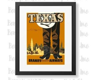 Texas Travel Poster, Vintage Texas Art, Cowboy Poster, Braniff Airways Poster, Airline Adverts, Home Decor, Texas USA Poster, Travel gifts
