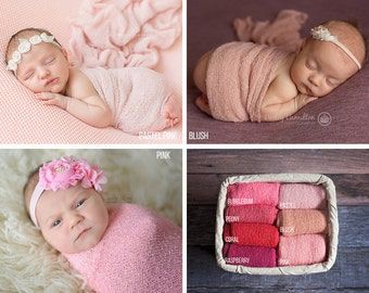 Pink Newborn Stretch Wraps, Newborn Stretch Knit Wrap, Newborn Photography Props, Newborn Wrap, Newborn Props,Stretch Knit Wrap,Stretch Wrap