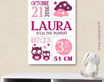 Birth stats print girl baby gift birth stats wall art personalized birth announcement nursery wall art decor date baby name art - n102