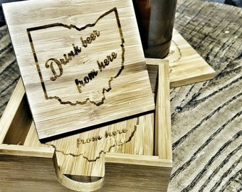Drink Beer From Here 4 Pack Laser Engraved Bamboo Coasters