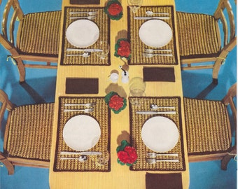 361 Vintage 1950s Crochet Pattern Place Mats And Chair Pads Set Home Decor Retro