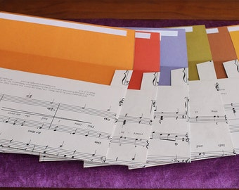 "5 Handmade envelopes. Recycled sheet music envelopes. 5"" x 7"" Envelopes made with recycled music sheets."