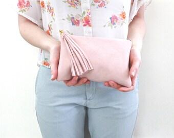 Blush Suede Leather Clutch