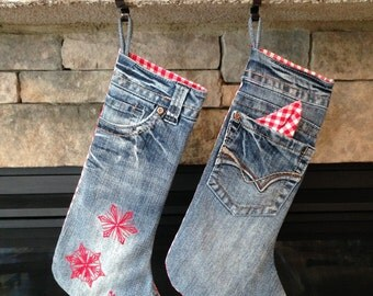 Personalized Red Gingham and Denim Upcycled Jeans Stockings