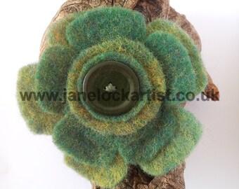 Felt Flower Brooch - Green