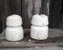 Vintage Porcelain Insulators set of 2 pieces/Soviet vintage