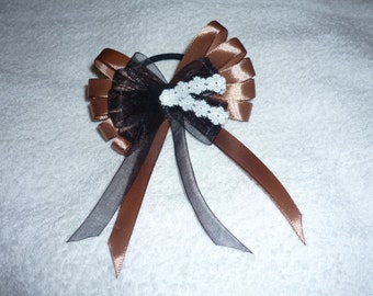"One 3.5"" brown&black hair bow"