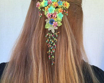 WILD FLOWER HANGING Barette by Vintage Jewelry Designer Colleen Toland