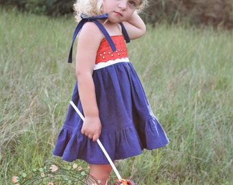 Baby Girl gameday dress, girl gameday dress, gameday, gameday dress, orange and navy dress, linen dress, eyelet dress, ruffle dress