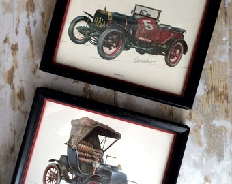 Two old and antique car bierdermann prints