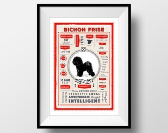 Bichon Frise Dog Breed Poster, Vintage Style, Dog Infographic Print, Bichon Frise Lover Gift, Letterbox Red/Sea Green