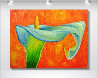 acrylic painting flower painting abstract modern canvas art wall art large white orange lily painting abstract art