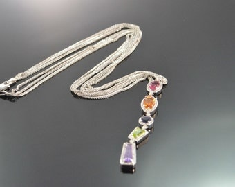 "14K 5.50 CTW Multi Colored Gemstones Diamond Geometric Link Necklace 18"" White Gold - EL10740"