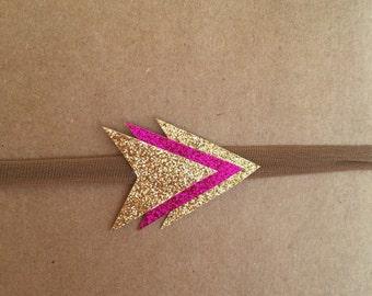 Valentine Headband -Fuchsia and Gold Glitter Arrow Cluster on Nylon Headband
