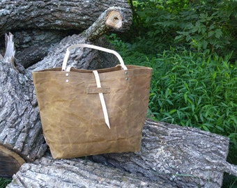 Tobacco Waxed Canvas Tote