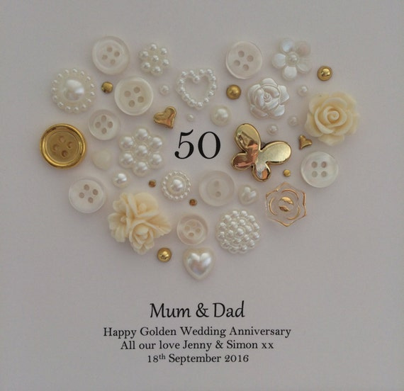 Traditional Gifts For Wedding Anniversaries: 50th Anniversary Gift Button Art Traditional By