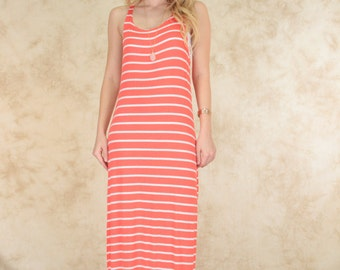 Striped Racer-Back Maxi Dress