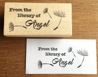 Dandelion ex libris stamp, dandelion bookplate stamp, from the library stamp, personalized stamp, dandelion fluff, dandelion stamp, mythical