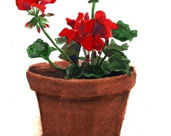 Watercolor Red Geraniums Print 8 x 10, Floral Art, Nature Art, Wall Art, Home decor, Aquarelle Print, Watercolour Flowers, Botanical Art