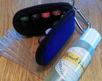 Essential Oils Travel-Kit Keychain (8 pure oils) with exclusive Safety & Usage Chart, Apricot oil and Pipettes.