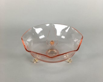 Vintage Pink Glass Lancaster Brand Bowl With Feet from the 1940's