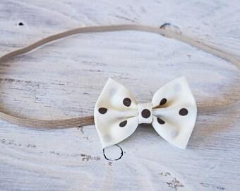 Ivory and brown Bow Headband or Clip, Hair Clip, Bow Headband