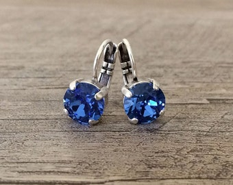 Swarovski Crystal Blue Sapphire 8mm Drop Earrings or Customize your Color
