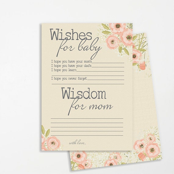 Baby Shower Message For Card: Baby Shower Printable Wishes For Baby Card Instant