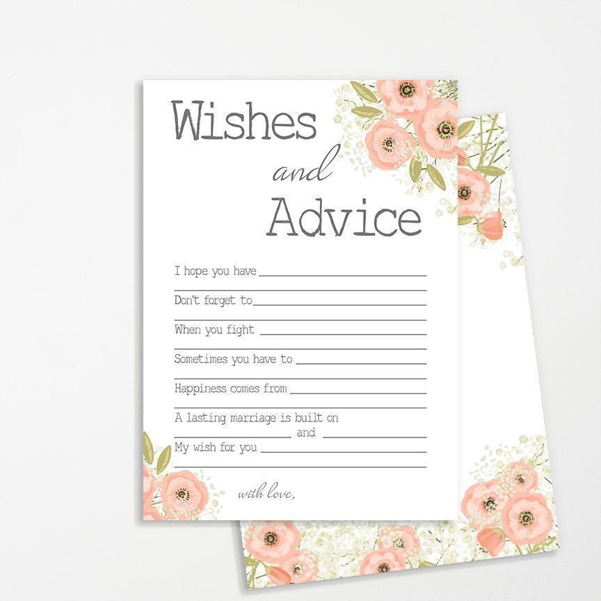 bridal shower advice cards pink flowers bridal shower