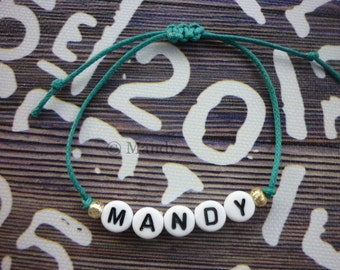 Personalized bracelet name bracelet with name beads wax cord bead bracelet personal custom made