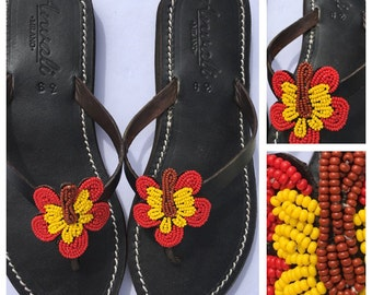 Hybiscus Sandals - Handmade shoes - Flower flip flops - Beads