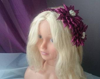 Burgundy Kanzashi Headband