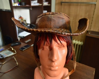 Vintage 1970's Handmade Brown Leather Cowboy Hat - NEW