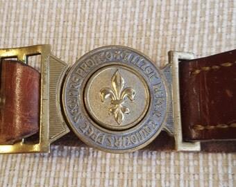 Vintage Swiss Scout Leather Belt