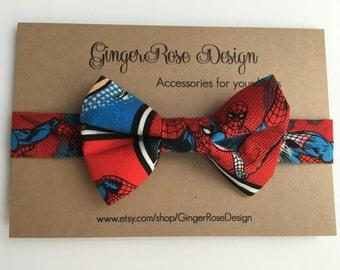 Spiderman Bow Tie; Superhero Bow Tie; Boy Bow Tie; Baby Bow Tie; Toddler Bow Tie; Adjustable Bow Tie; Fabric Bow Tie; Velcro Bow Tie