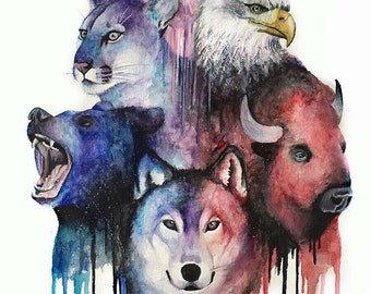 Wild Life Watercolor Collage Print FREE SHIPPING IN U.S.A