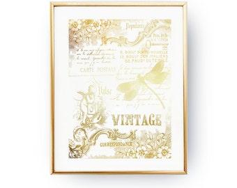 Real Gold Foil Print, Vintage Provence, Typography Poster, Gold Wall Art, Bedroom Poster, Provence Prints, Livingroom Decor, Vintage Decor