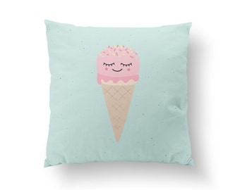 Ice Cream Pillow, Kids Pillow, Home Decor, Cushion Cover, Throw Pillow, Bedroom Decor, Bed Pillow, Decorative Pillow, Nursery Decor