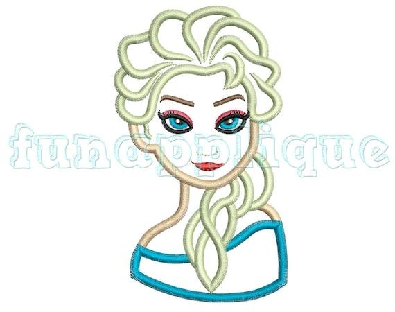 Elsa Princess Applique Design For Machine Embroidery Instant