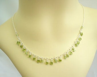 Peridot Fringe Choker Necklace, Sterling Silver, Real Genuine AAA Gemstone Dangles, Wire Wrapped, Lime Green Jewelry