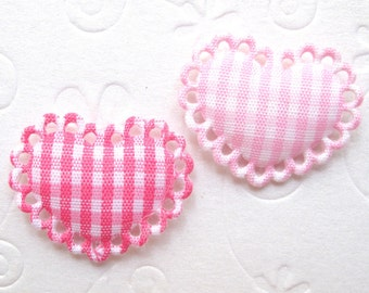 SET of 20 Pink/Hot Pink Padded Gingham Cotton Heart Applliques / trim/ embellishments/ diy crafts