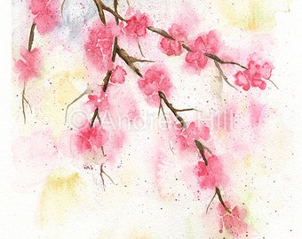 Spring Sakura Cherry Blossom Original Watercolor Painting