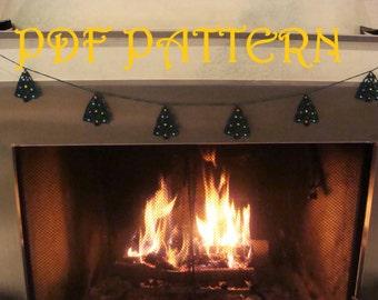 Crochet Christmas Trees Garland PDF Pattern