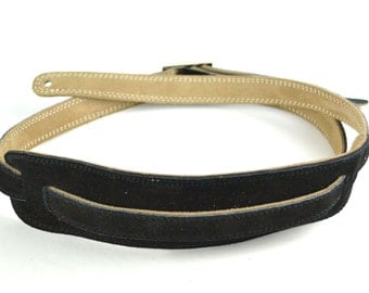 Black Leather Guitar Strap - Handmade Vintage Style, For Guitar & Bass Guitars A5-300-1B