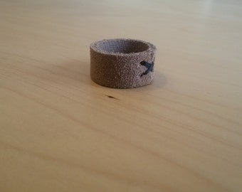 Leather ring - Suede look
